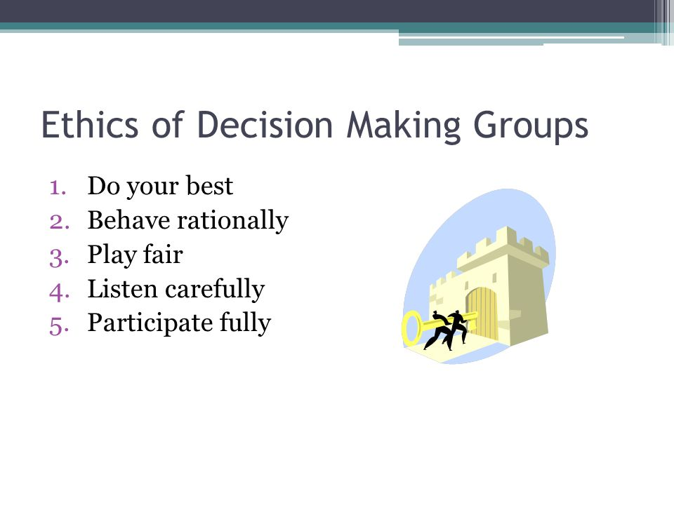 Ethics of Decision Making Groups 1.Do your best 2.Behave rationally 3.Play fair 4.Listen carefully 5.Participate fully