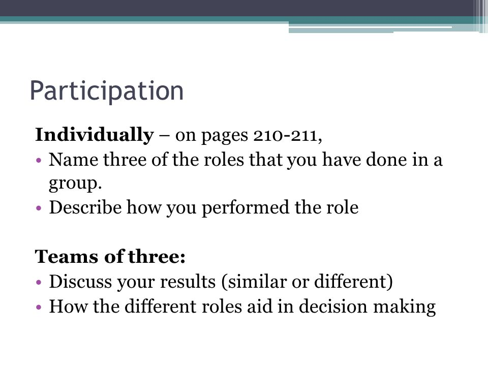 Participation Individually – on pages 210-211, Name three of the roles that you have done in a group.
