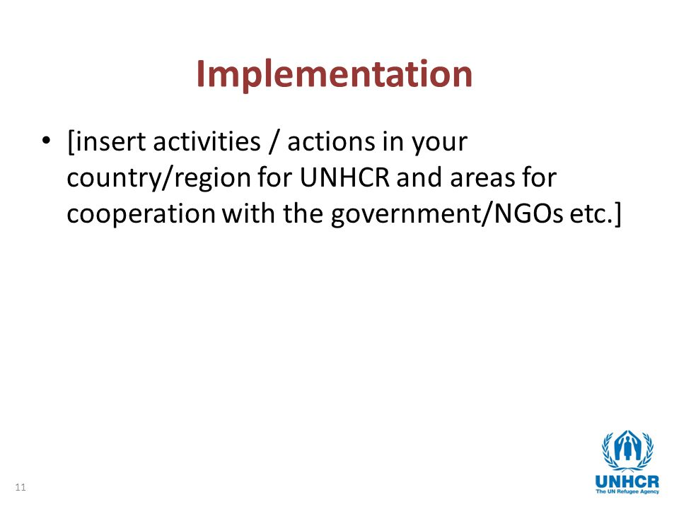 11 Implementation [insert activities / actions in your country/region for UNHCR and areas for cooperation with the government/NGOs etc.]
