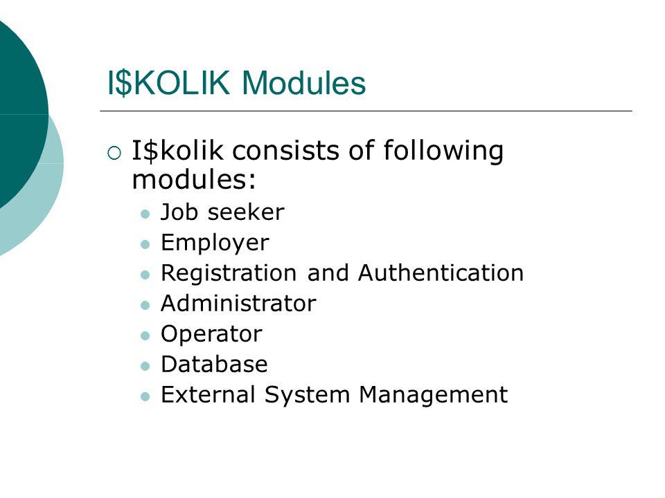 I$KOLIK Modules  I$kolik consists of following modules: Job seeker Employer Registration and Authentication Administrator Operator Database External System Management