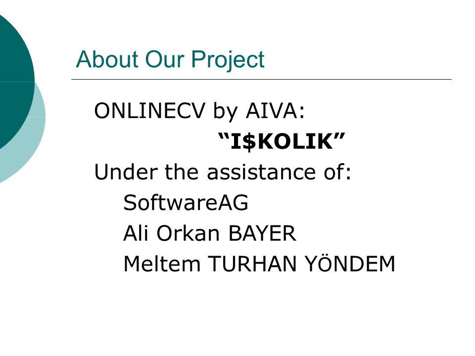 About Our Project ONLINECV by AIVA: I$KOLIK Under the assistance of: SoftwareAG Ali Orkan BAYER Meltem TURHAN Y Ö NDEM
