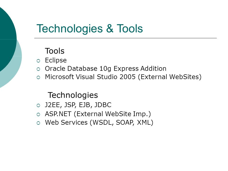 Technologies & Tools Tools  Eclipse  Oracle Database 10g Express Addition  Microsoft Visual Studio 2005 (External WebSites) ‏ Technologies  J2EE,