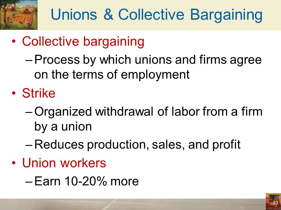 Unions & Collective Bargaining Union - raises the wage above the equilibrium level –Higher quantity of labor supplied –Smaller quantity of labor demanded –Unemployment –Better off: employed workers (insiders) –Worse off: unemployed (outsiders) May stay unemployed Take jobs in firms that are not unionized 34