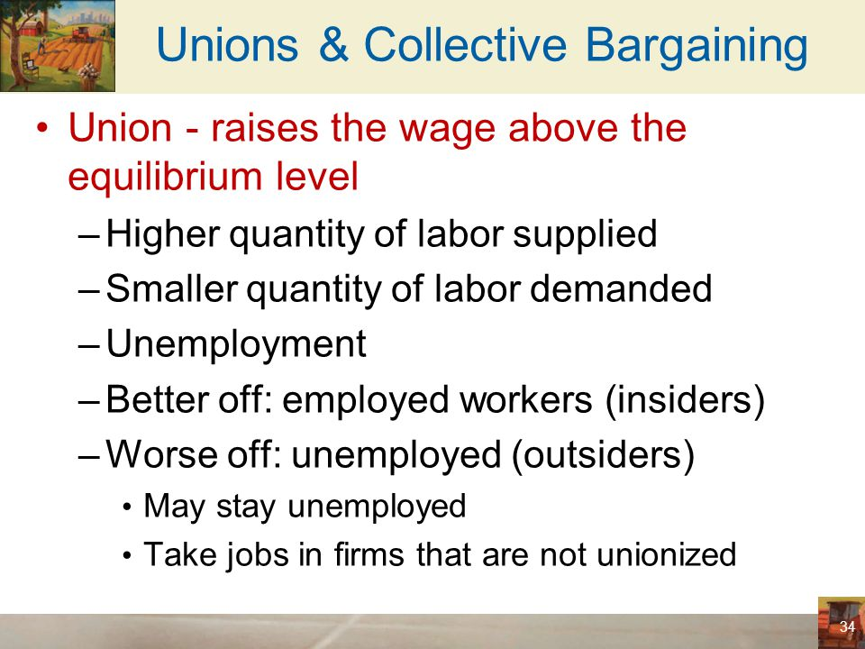 Unions & Collective Bargaining Union - raises the wage above equilibrium –Supply of labor – increase in industries not unionized Lower wage Workers in unions –Reap the benefit of collective bargaining Workers not in unions –Bear some of the cost 35