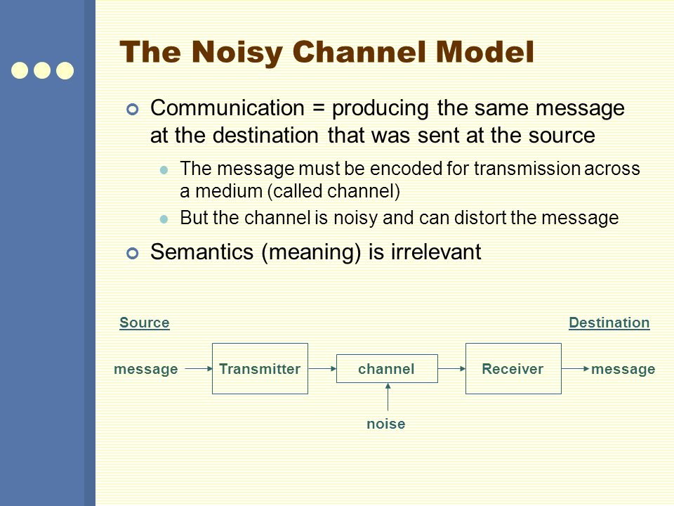 The Noisy Channel Model Communication = producing the same message at the destination that was sent at the source The message must be encoded for transmission across a medium (called channel) But the channel is noisy and can distort the message Semantics (meaning) is irrelevant SourceDestination channel message Receiver message Transmitter noise