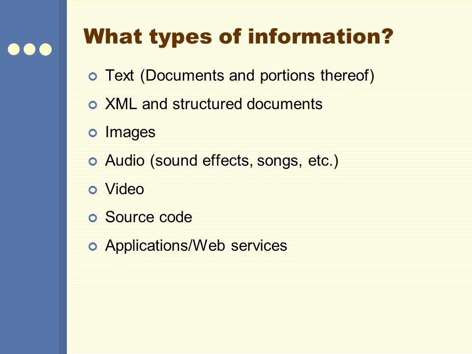 What types of information.
