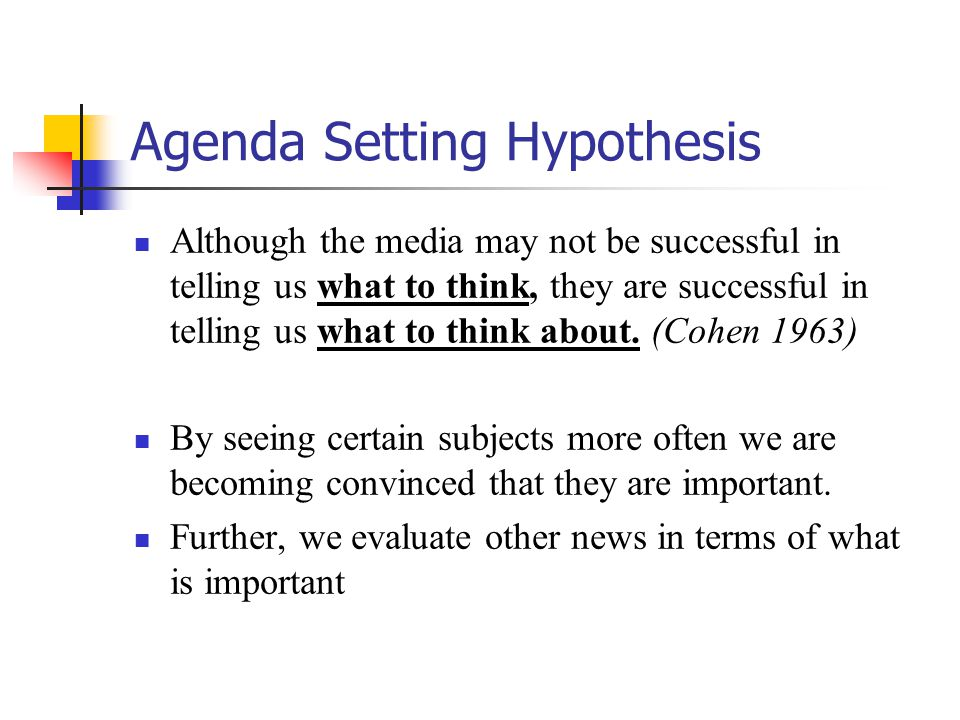 Agenda Setting Hypothesis Although the media may not be successful in telling us what to think, they are successful in telling us what to think about.
