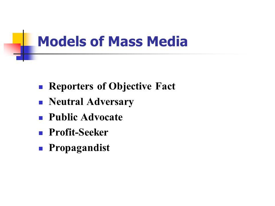 Models of Mass Media Reporters of Objective Fact Neutral Adversary Public Advocate Profit-Seeker Propagandist