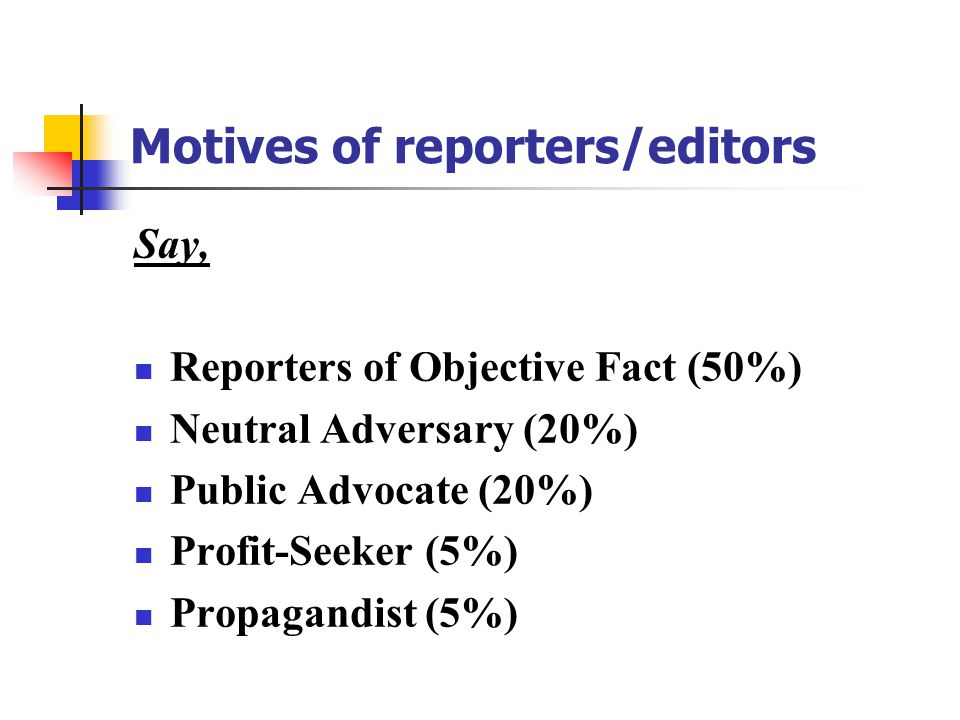 Motives of reporters/editors Say, Reporters of Objective Fact (50%) Neutral Adversary (20%) Public Advocate (20%) Profit-Seeker (5%) Propagandist (5%)