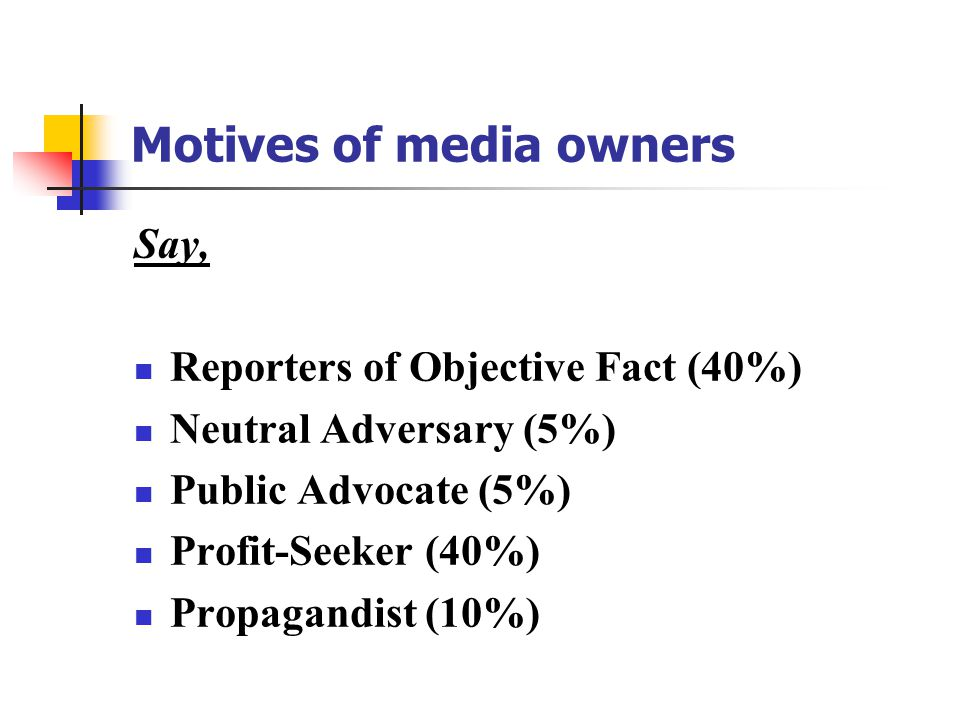 Motives of media owners Say, Reporters of Objective Fact (40%) Neutral Adversary (5%) Public Advocate (5%) Profit-Seeker (40%) Propagandist (10%)