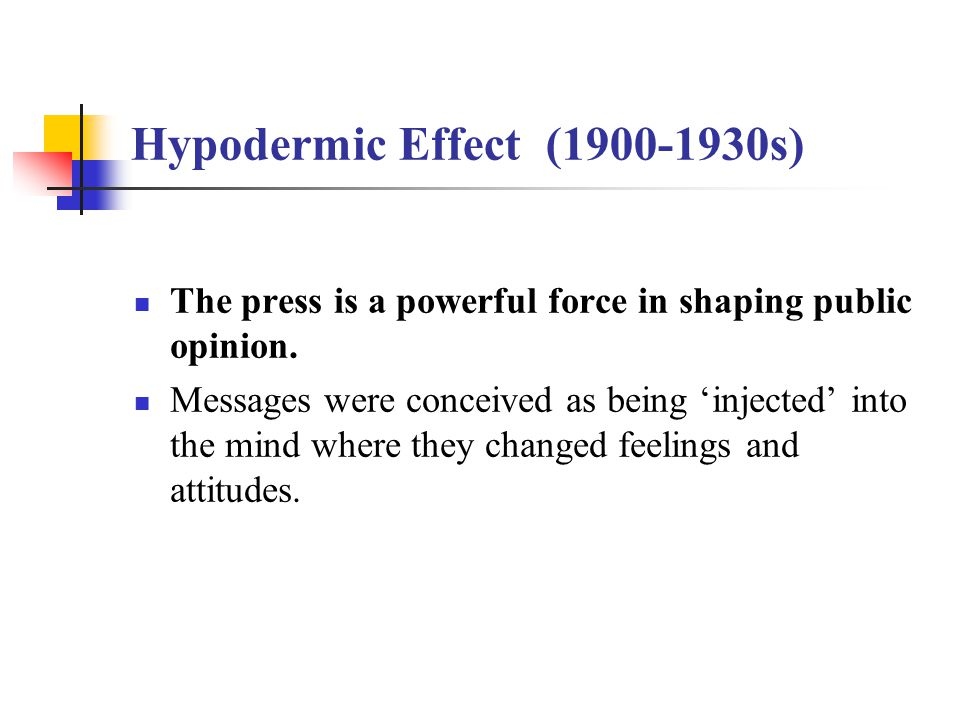 Hypodermic Effect (1900-1930s) The press is a powerful force in shaping public opinion. Messages were conceived as being 'injected' into the mind wher