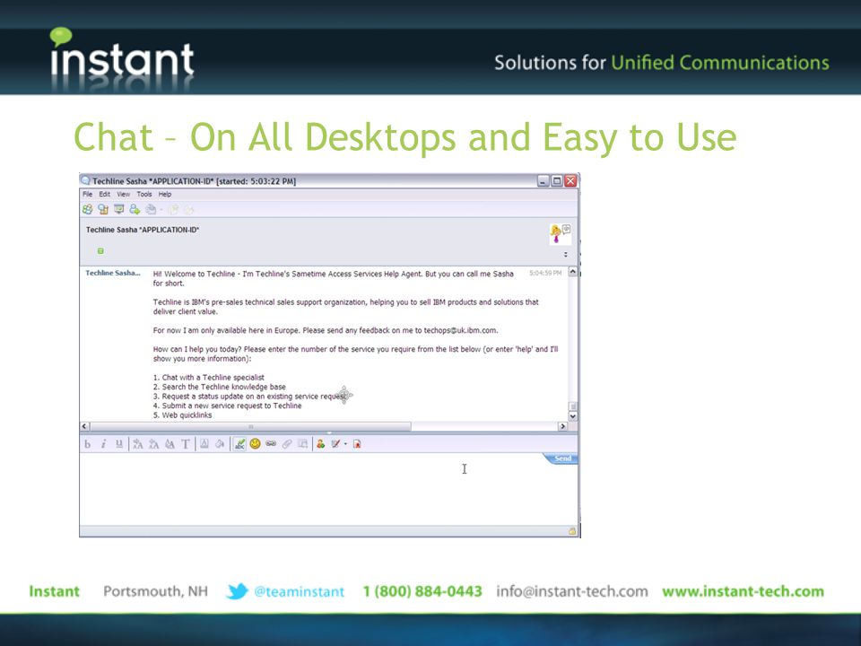 Chat – On All Desktops and Easy to Use
