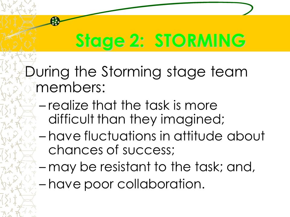 Stage 2: STORMING During the Storming stage team members: –realize that the task is more difficult than they imagined; –have fluctuations in attitude