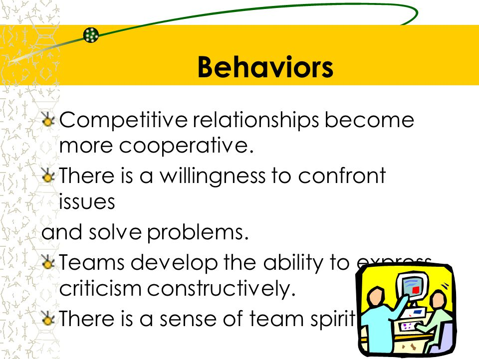 Behaviors Competitive relationships become more cooperative. There is a willingness to confront issues and solve problems. Teams develop the ability t