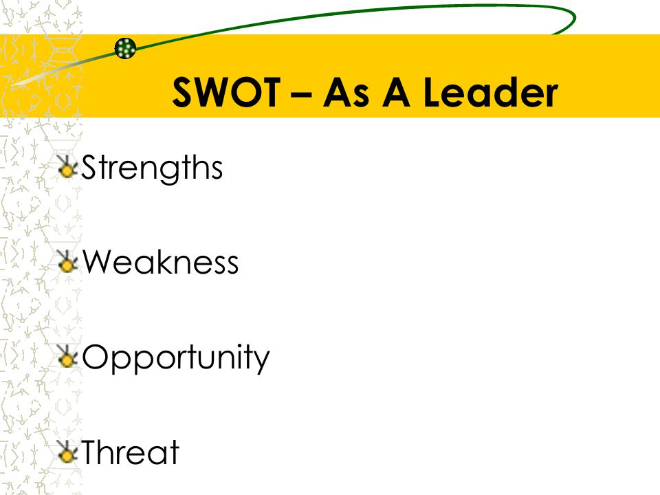 SWOT – As A Leader Strengths Weakness Opportunity Threat