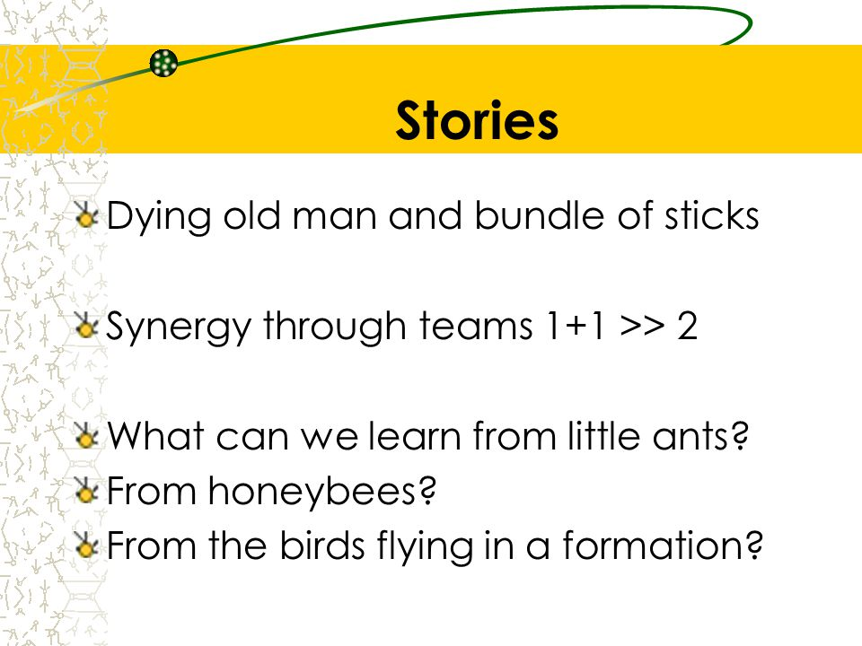 Stories Dying old man and bundle of sticks Synergy through teams 1+1 >> 2 What can we learn from little ants? From honeybees? From the birds flying in