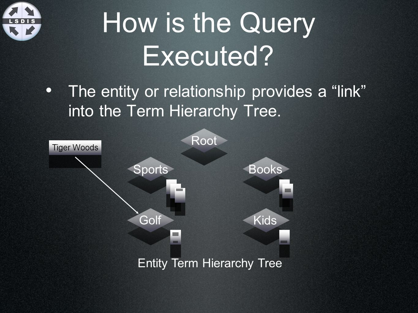 "How is the Query Executed? The entity or relationship provides a ""link"" into the Term Hierarchy Tree. Root Sports Books Kids Golf Entity Term Hierarch"