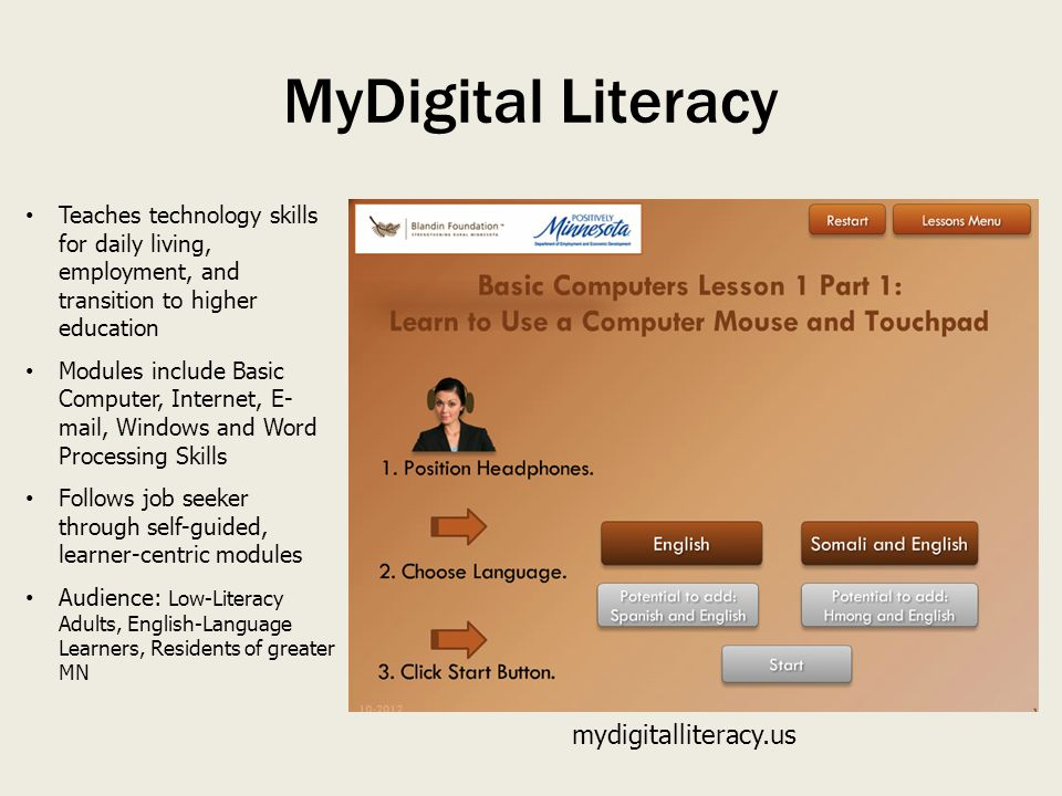 Teaches technology skills for daily living, employment, and transition to higher education Modules include Basic Computer, Internet, E- mail, Windows and Word Processing Skills Follows job seeker through self-guided, learner-centric modules Audience: Low-Literacy Adults, English-Language Learners, Residents of greater MN mydigitalliteracy.us MyDigital Literacy