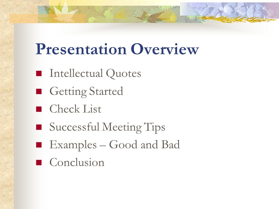 Presentation Overview Intellectual Quotes Getting Started Check List Successful Meeting Tips Examples – Good and Bad Conclusion