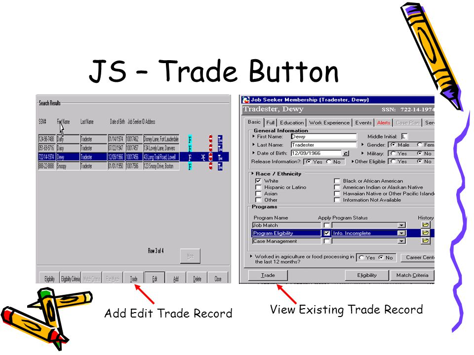 JS – Trade Button Add Edit Trade Record View Existing Trade Record