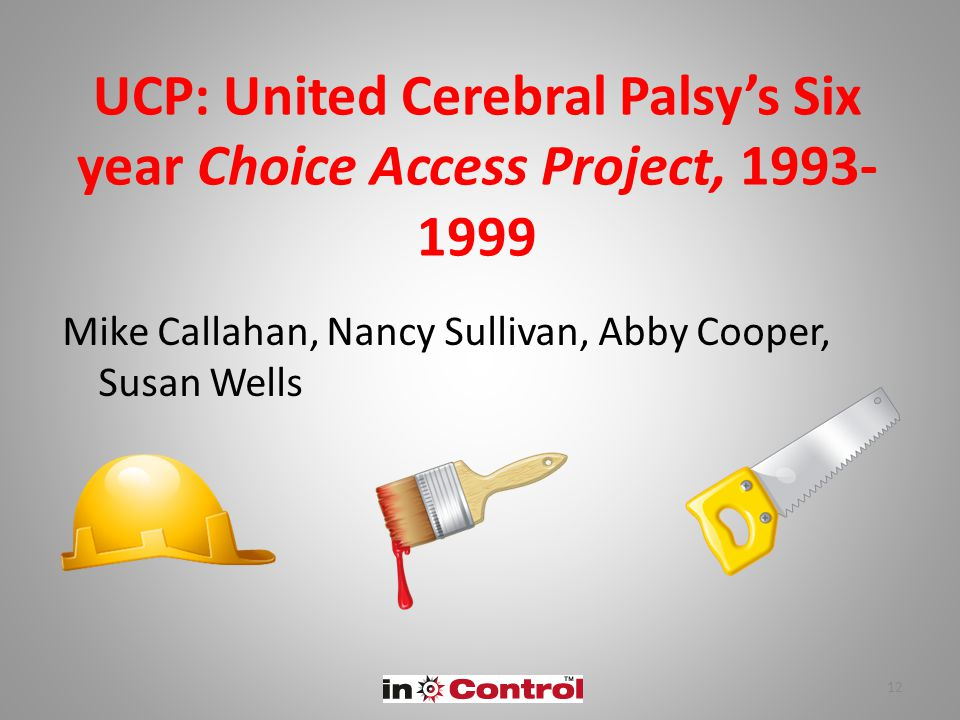 UCP: United Cerebral Palsy's Six year Choice Access Project, 1993- 1999 Mike Callahan, Nancy Sullivan, Abby Cooper, Susan Wells 12