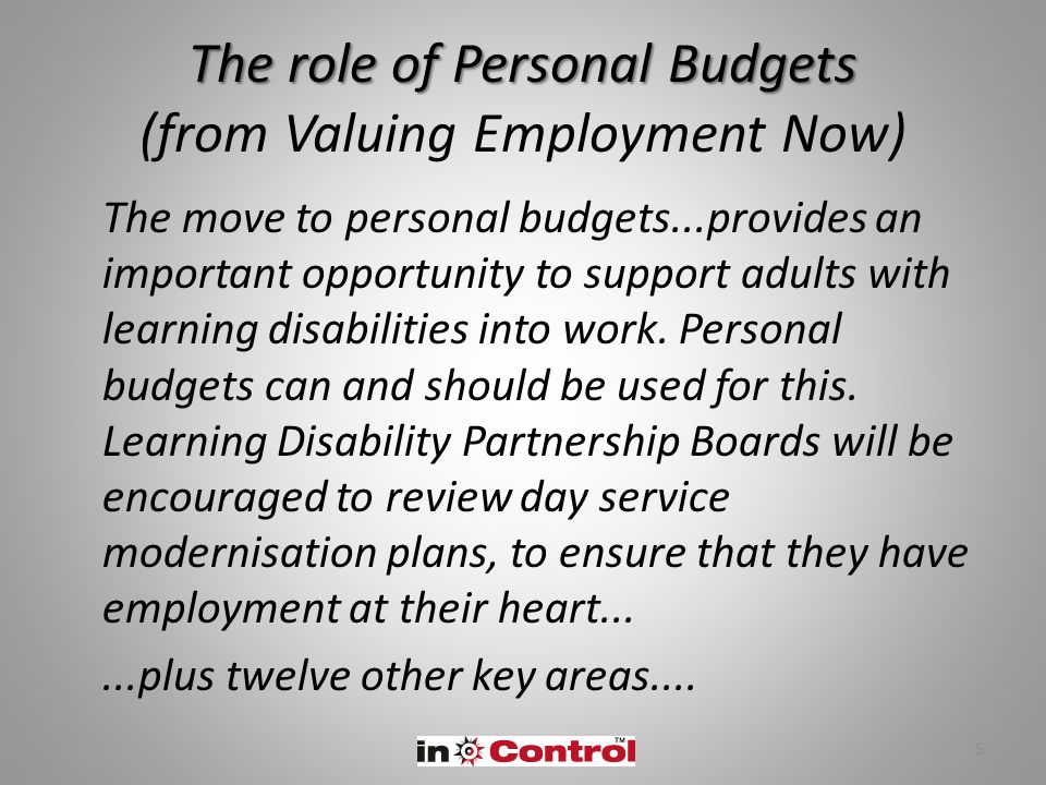 The role of Personal Budgets The role of Personal Budgets (from Valuing Employment Now) The move to personal budgets...provides an important opportuni