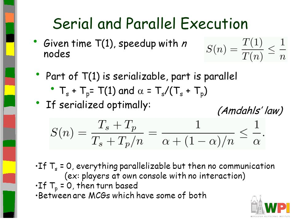 Serial and Parallel Execution Given time T(1), speedup with n nodes Part of T(1) is serializable, part is parallel T s + T p = T(1) and  = T s /(T s + T p ) If serialized optimally: (Amdahls' law) If T s = 0, everything parallelizable but then no communication (ex: players at own console with no interaction) If T p = 0, then turn based Between are MCGs which have some of both
