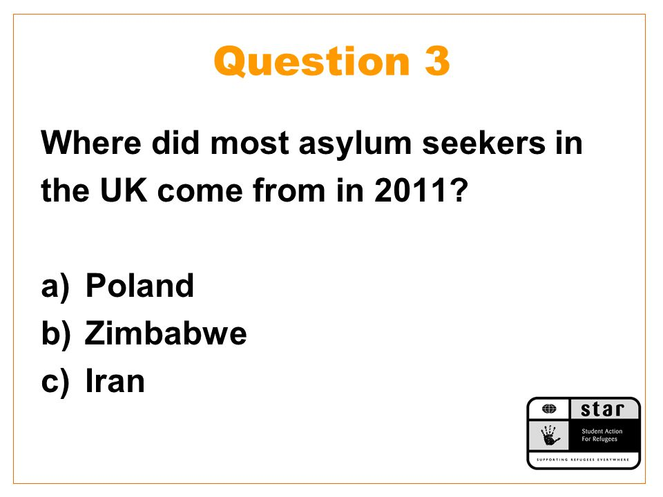Question 3 Where did most asylum seekers in the UK come from in 2011? a)Poland b)Zimbabwe c)Iran