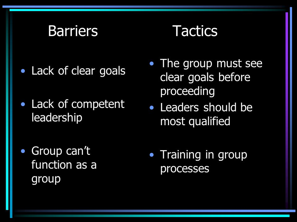 Barriers Tactics Lack of clear goals Lack of competent leadership Group can't function as a group The group must see clear goals before proceeding Lea