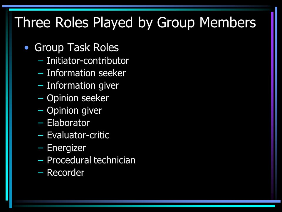 Three Roles Played by Group Members Group Task Roles –Initiator-contributor –Information seeker –Information giver –Opinion seeker –Opinion giver –Ela