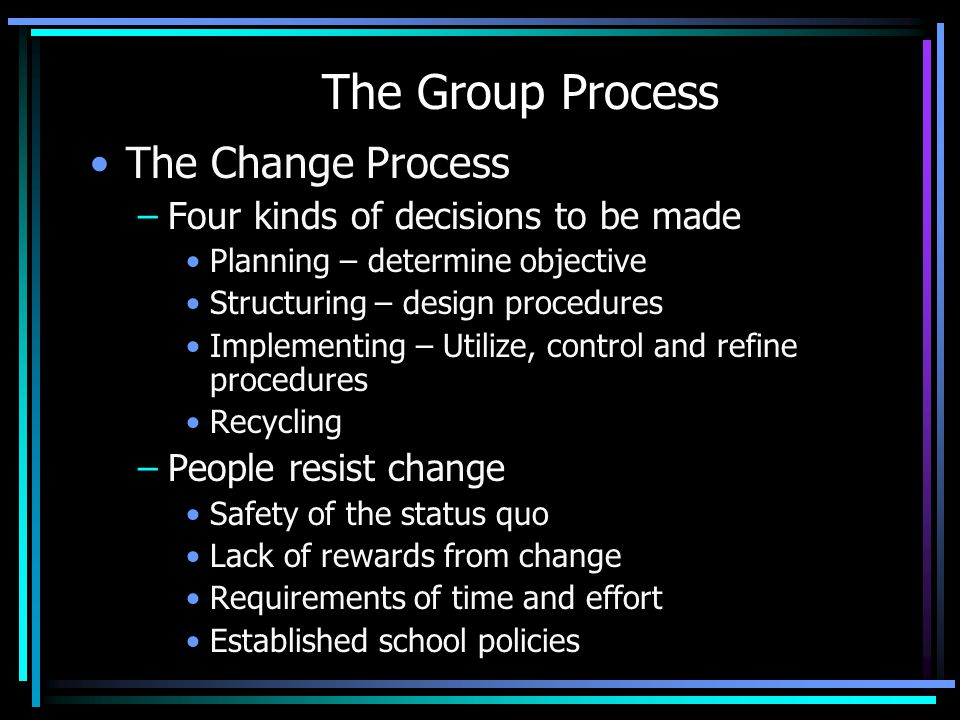 The Group Process The Change Process –Four kinds of decisions to be made Planning – determine objective Structuring – design procedures Implementing –