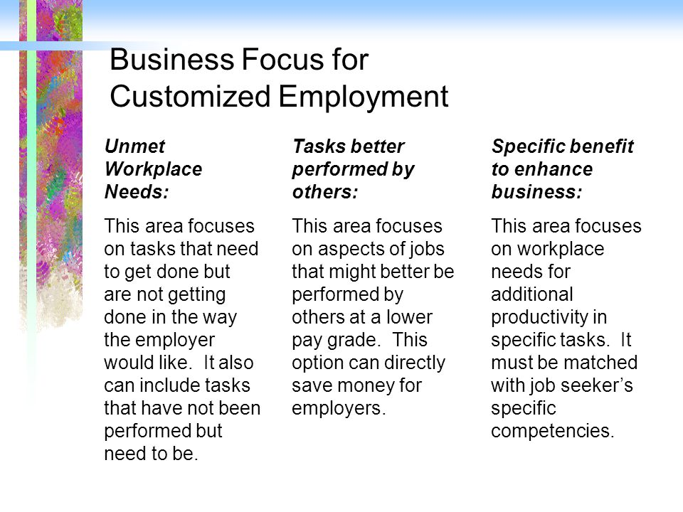 Business Focus for Customized Employment Unmet Workplace Needs: This area focuses on tasks that need to get done but are not getting done in the way t