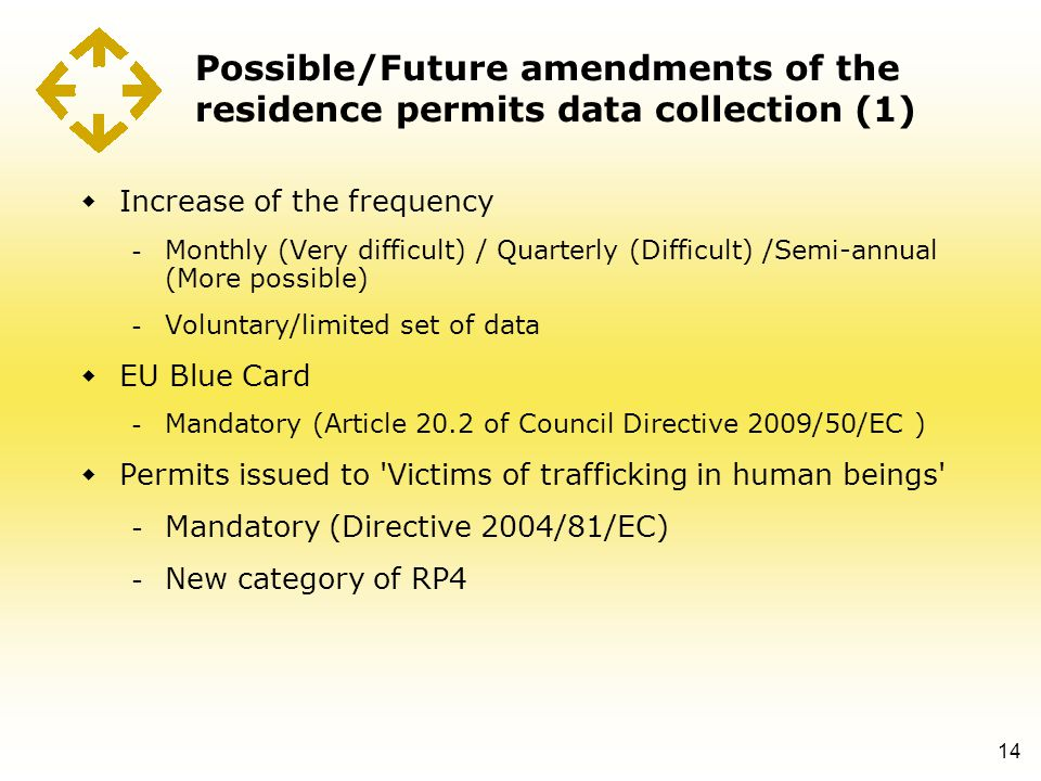Possible/Future amendments of the residence permits data collection (1)  Increase of the frequency - Monthly (Very difficult) / Quarterly (Difficult) /Semi-annual (More possible) - Voluntary/limited set of data  EU Blue Card - Mandatory (Article 20.2 of Council Directive 2009/50/EC )  Permits issued to Victims of trafficking in human beings - Mandatory (Directive 2004/81/EC) - New category of RP4 14