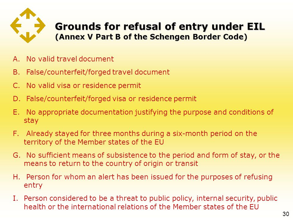 Grounds for refusal of entry under EIL (Annex V Part B of the Schengen Border Code) 30 A. No valid travel document B. False/counterfeit/forged travel
