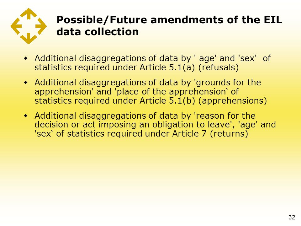 Possible/Future amendments of the EIL data collection  Additional disaggregations of data by ' age' and 'sex' of statistics required under Article 5.