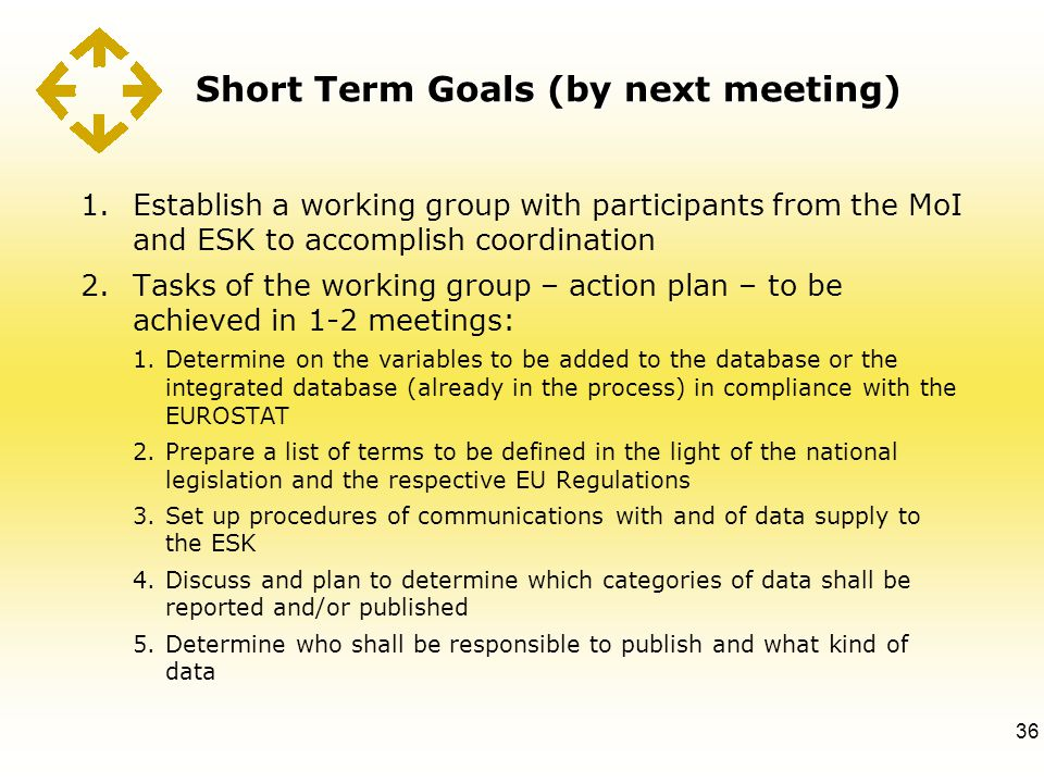 Short Term Goals (by next meeting) 1.Establish a working group with participants from the MoI and ESK to accomplish coordination 2.Tasks of the workin