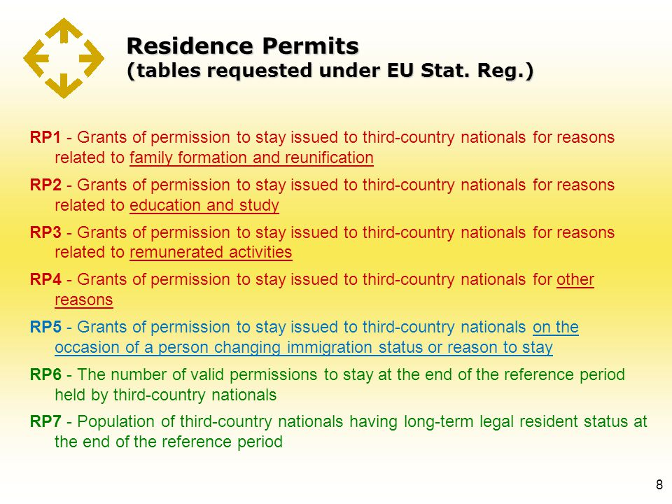 Residence Permits (tables requested under EU Stat. Reg.) 8 RP1 - Grants of permission to stay issued to third-country nationals for reasons related to
