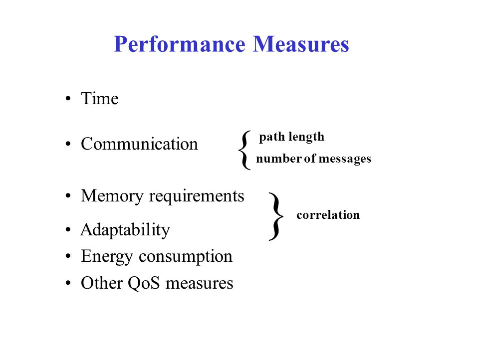 Performance Measures Time Communication Memory requirements Adaptability Energy consumption Other QoS measures path length number of messages correlation { }