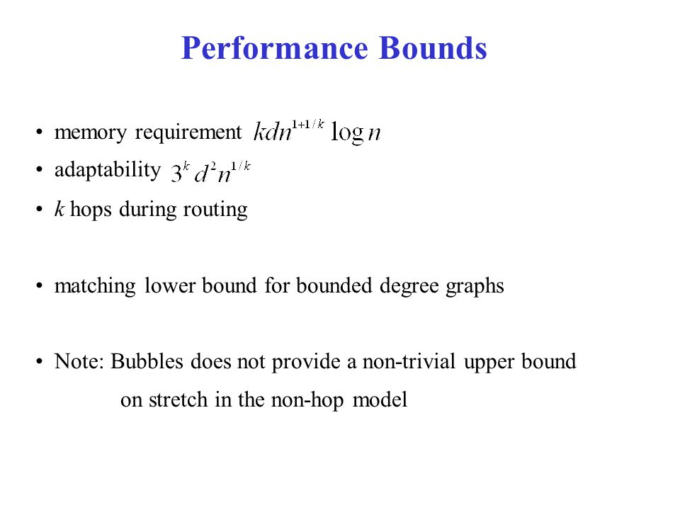 memory requirement adaptability k hops during routing matching lower bound for bounded degree graphs Note: Bubbles does not provide a non-trivial upper bound on stretch in the non-hop model Performance Bounds