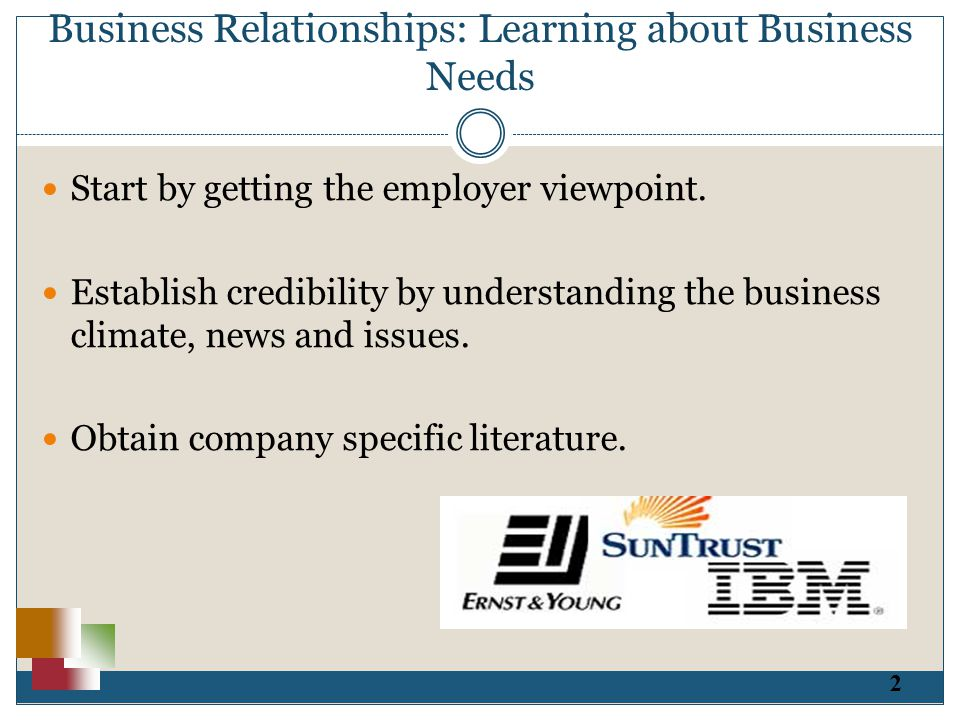 2 Business Relationships: Learning about Business Needs Start by getting the employer viewpoint.