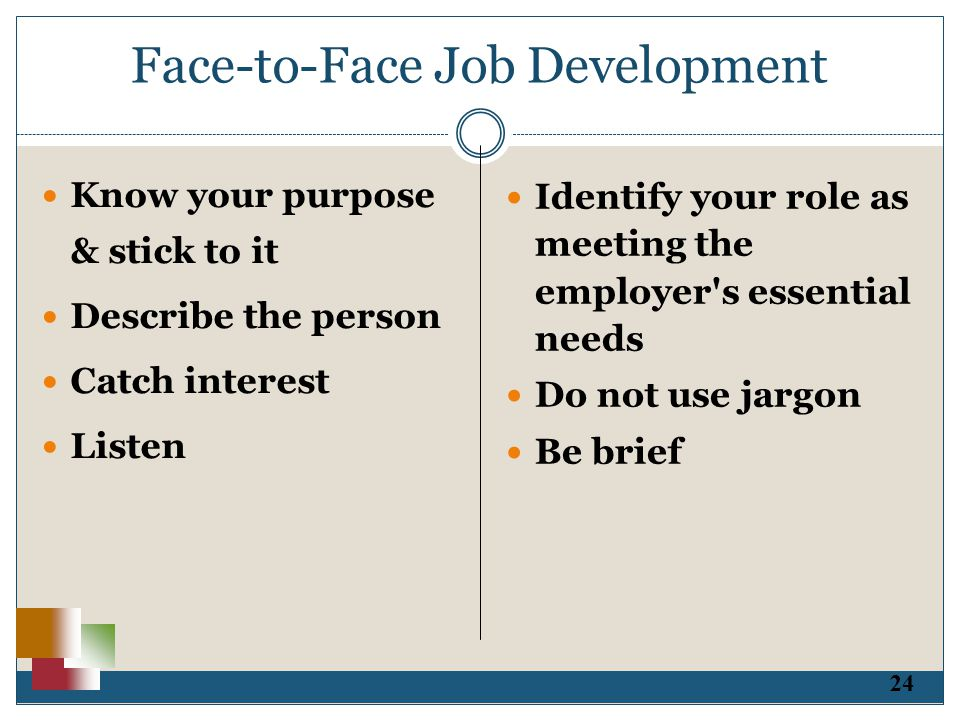 24 Face-to-Face Job Development Know your purpose & stick to it Describe the person Catch interest Listen Identify your role as meeting the employer s essential needs Do not use jargon Be brief