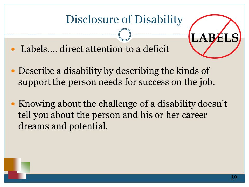 29 Disclosure of Disability Labels....