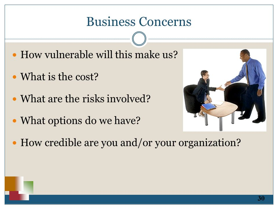 30 Business Concerns How vulnerable will this make us.
