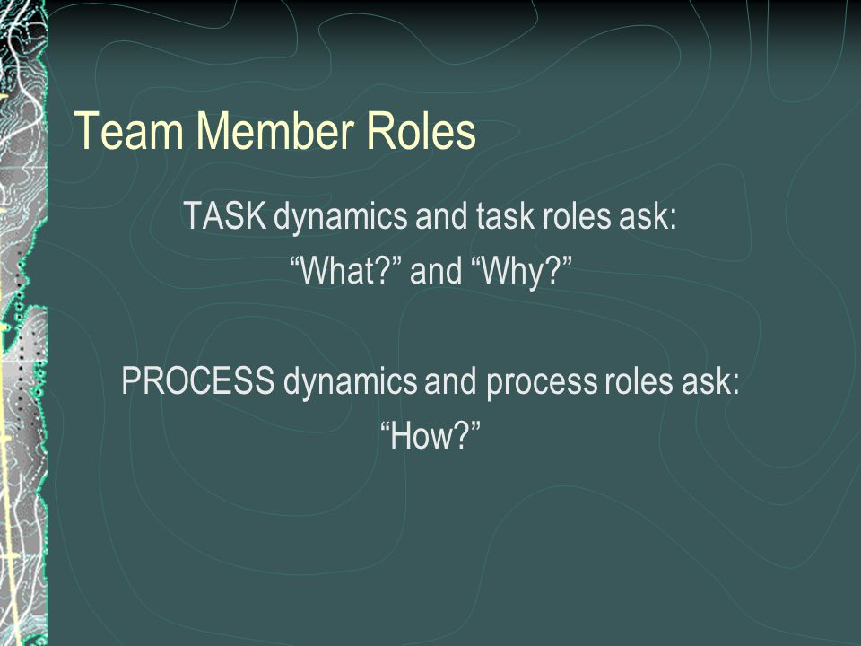 Team Member Roles TASK dynamics and task roles ask: What? and Why? PROCESS dynamics and process roles ask: How?