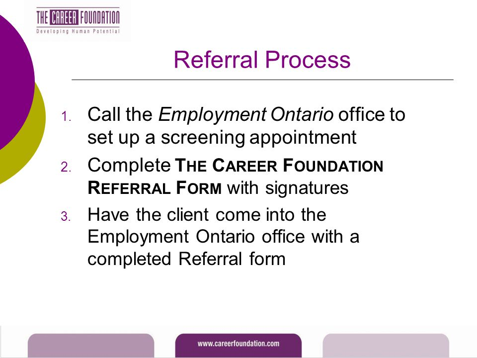 Referral Process 1. Call the Employment Ontario office to set up a screening appointment 2. Complete T HE C AREER F OUNDATION R EFERRAL F ORM with sig