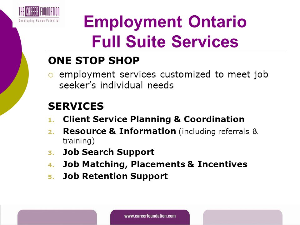 Employment Ontario Full Suite Services ONE STOP SHOP  employment services customized to meet job seeker's individual needs SERVICES 1. Client Service