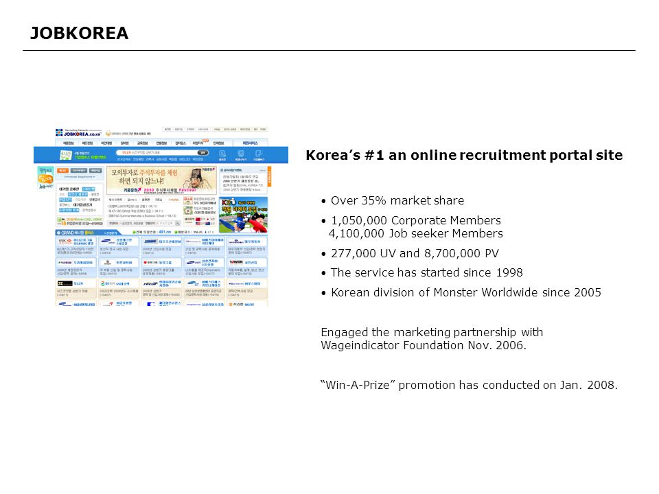 JOBKOREA Over 35% market share 1,050,000 Corporate Members 4,100,000 Job seeker Members 277,000 UV and 8,700,000 PV The service has started since 1998 Korean division of Monster Worldwide since 2005 Engaged the marketing partnership with Wageindicator Foundation Nov.