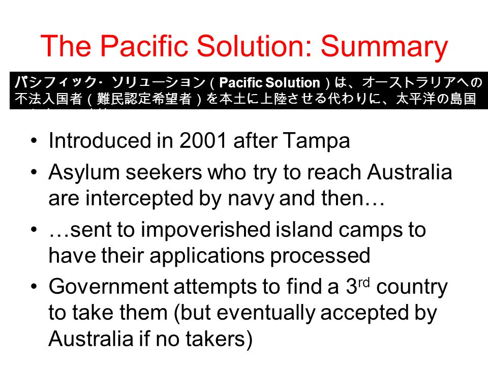 The Pacific Solution: Summary Introduced in 2001 after Tampa Asylum seekers who try to reach Australia are intercepted by navy and then… …sent to impoverished island camps to have their applications processed Government attempts to find a 3 rd country to take them (but eventually accepted by Australia if no takers) パシフィック・ソリューション( Pacific Solution )は、オーストラリアへの 不法入国者(難民認定希望者)を本土に上陸させる代わりに、太平洋の島国 に収容する政策。