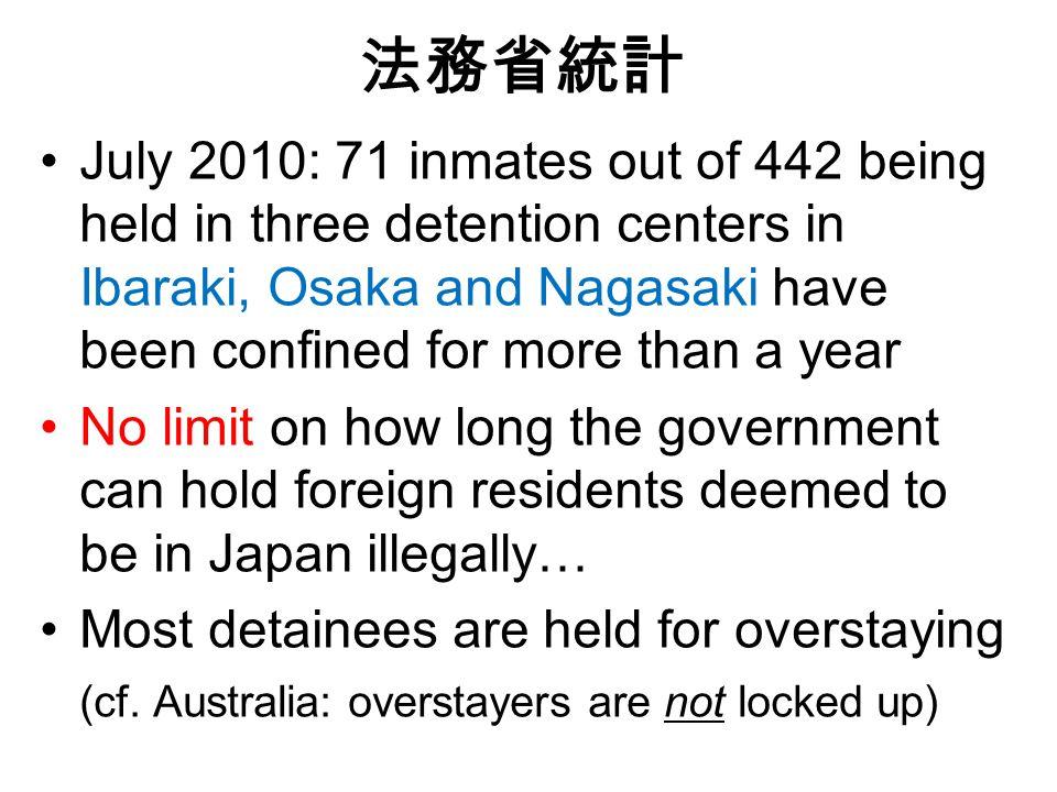 法務省統計 July 2010: 71 inmates out of 442 being held in three detention centers in Ibaraki, Osaka and Nagasaki have been confined for more than a year No limit on how long the government can hold foreign residents deemed to be in Japan illegally… Most detainees are held for overstaying (cf.