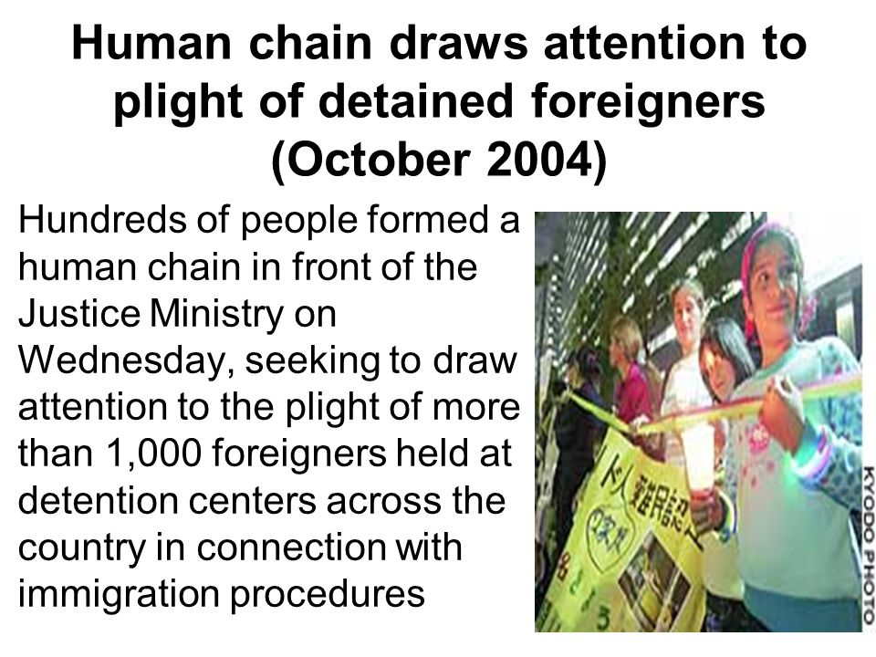 Human chain draws attention to plight of detained foreigners (October 2004) Hundreds of people formed a human chain in front of the Justice Ministry on Wednesday, seeking to draw attention to the plight of more than 1,000 foreigners held at detention centers across the country in connection with immigration procedures
